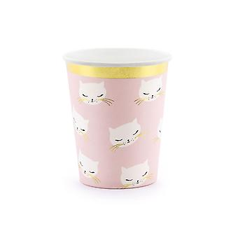 Pink Party Pappbecher mit Katze Kitten Design x 6