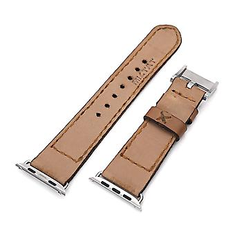 Strapcode calf leather watch strap 24mm light brown handmade apple watch quick release leather watch strap