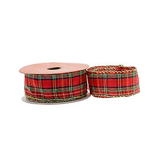 9m Tartan 38mm Wide Woven Ribbon for Crafts