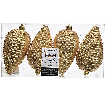 4 12cm Gold Pine Cone Hanging Tree Ornaments