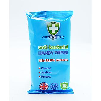 Green Shield Anti-Bacterial Handy Wipes 12 x 15 paquete