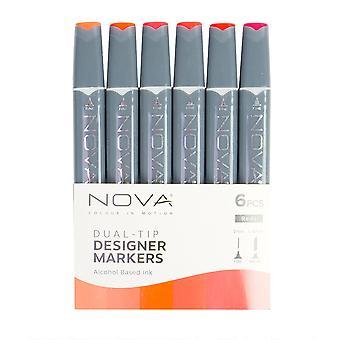 Trimcraft Nova Sketch Markers Reds (6pcs) (NOV001)