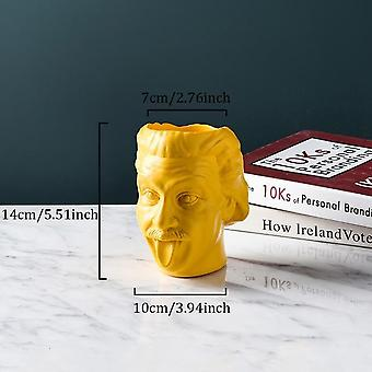 Einstein Head Statue Sculpture Flower Pot/Container - Desktop Flower Arrangement Vase