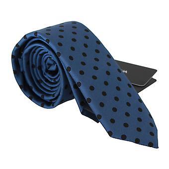 Dolce & Gabbana Sininen Pilkullinen 100% Silkki Klassinen Solmio Tie -- KRA7831152