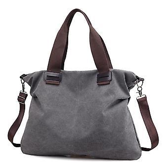 Ladies' afslappet lærred håndtaske