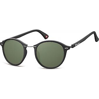 Sunglasses Unisex panto matt black/green (S22)