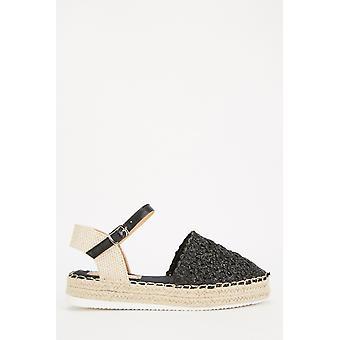 Braided Trim Platform Sandals