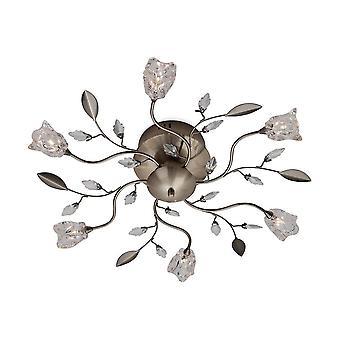 6 Light Flush Multi Arm Plafond licht antieke messing, helder glas, G4 Lamp