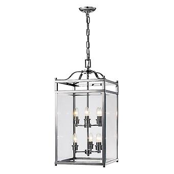 Geïnspireerd Diyas - Aston - Plafond hanglantaarn 6 Licht gepolijst chroom, glas