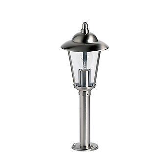 Al aire libre Bollard Light Polished Acero Inoxidable, Policarbonato Transparente IP44, E27