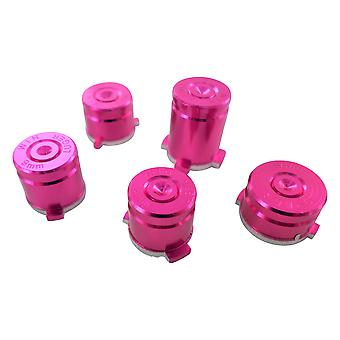 Metal button set for xbox one wireless controller aluminium alloy bullet inc a b x y & guide button - pink | zedlabz