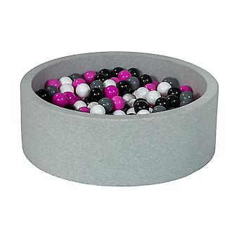 Ball pit 90 cm with 300 balls black, white, purple & grey