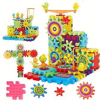 81 Stk elektrische Zahnräder 3d Modellbau Kits Kunststoff Ziegel Blöcke pädagogisches Spielzeug für Kinder