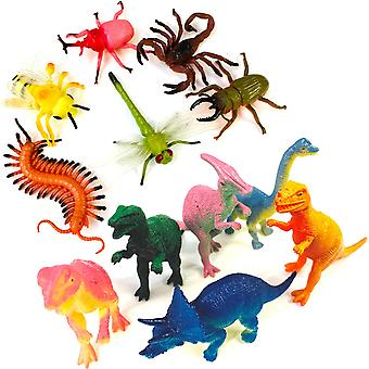 12-Pack Plastic Animals Figures Insects And Dinosaurs 10cm