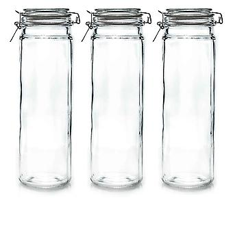 Argon Tableware Glass Spaghetti Jars with Airtight Clip Lid - 2 Litre Set - White Seal - Pack of 3