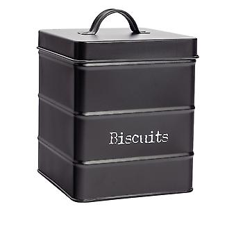 Industrial Biscuit Tin - Vintage Style Steel Kitchen Storage Caddy with Lid - Black