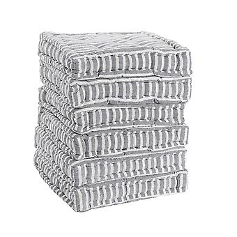 Nicola Spring Square Padded French Mattress Dining Chair Cushion Seat Pad - Grey Stripe - Pack of 6