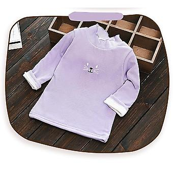 Baby Girl Cotton Winter Velvet Thick Lace Warm Long-sleeved Shirt Cartoon Cat Printed T-shirt Girl Clothes
