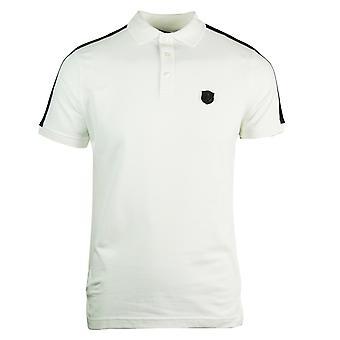 روبرتو كافالي لوحة شعار قميص بولو أبيض