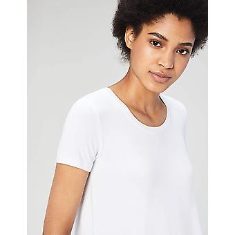 Marca - Daily Ritual Women's Jersey Short-Sleeve Scoop Neck Swing T-Shirt, Branco, Grande