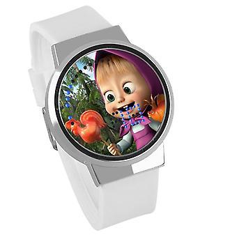 Nepremokavé svetelné LED digitálne dotykové detské hodinky - Máša a medveď #7