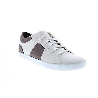 Geox U Smart B Mens White Leather Lace Up Euro Sneakers Shoes