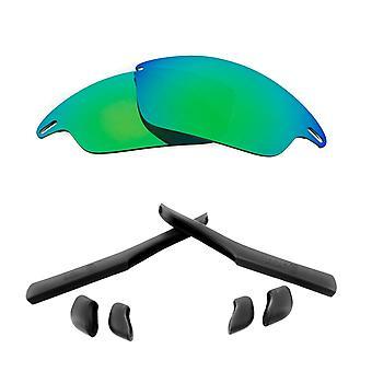 Polarized Replacement Lenses Kit for Oakley Fast Jacket Green Mirror Black Anti-Scratch Anti-Glare UV400 by SeekOptics