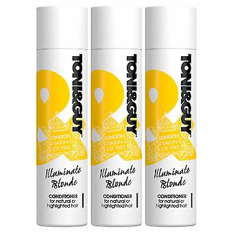 3x 250ml Toni & Guy IlluminateBlonde Balsam til naturligt eller fremhævet hår