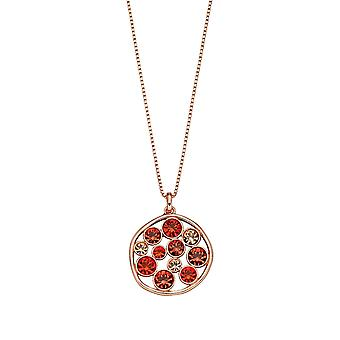 Fiorelli Silver Womens 925 Sterling Silver Rose Gold Plated Orange Shade Preciosa Crystal Round Pendant Necklace of Length 41cm + 5cm