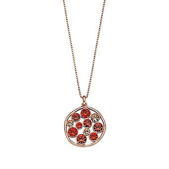 Fiorelli Silver Womens 925 Sterling Silver Rose Gold Plated Orange Shade Preciosa Crystal Round Hangketting van lengte 41cm + 5cm