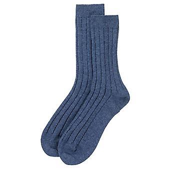 Johnstons of Elgin Ribbed Socks - Blue Wash