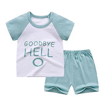 Vauvan pehmeä shortsipuku t-paita, lasten dinosaurus sarjakuva vauvanvaatteet