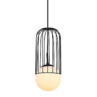 Italux Matty - Moderno pendente appeso nero 1 luce con nero, ombra bianca, E27