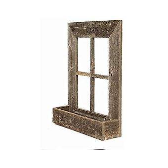 22x18 Rustic Weatered Grey Window Frame with Planter