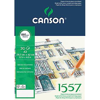 Canson 1557 - a3 pad including 30 sheets of 180gsm white cartridge drawing paper