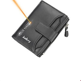 Leather Wallets, Short Desigh Zipper, Card Holder Purse For Male