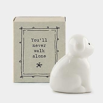 """Mini Matchbox Porcelain Dog - """"You'll never walk alone"""""""