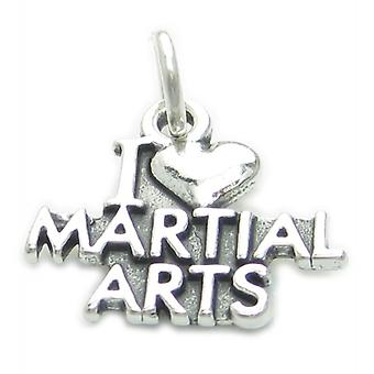 I Love Martial Arts Sterling Silver Charm .925 X 1 Kung Fu Karate Charms - 3783