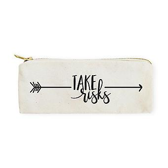Take Risks-cotton Canvas Pencil Case And Travel Pouch