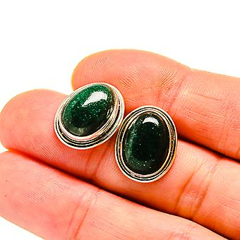 "Green Aventurine Earrings 3/4"" (925 Sterling Silver)  - Handmade Boho Vintage Jewelry EARR411131"