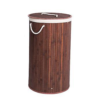 Veľký okrúhly bambusový kôš na bielizeň s vrchnákom
