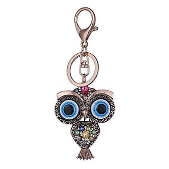 Vintage Owl Rhinestones Keychain Rings Holder Purse Bag Buckle Pendant Car Keyr