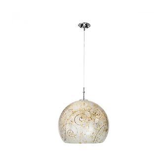 Lámpara Colgante Moderna Luna Cromo 1 Bombilla, Pantalla Plateada Medici