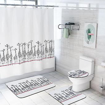 4ピース鹿シャワーカーテンセット