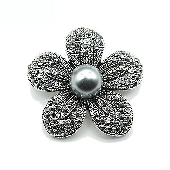 Corsage Black Flower Women Brooch Pearl Brooch Pin