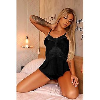 Black Lace Patchwork Cami Shorts Pajamas Set