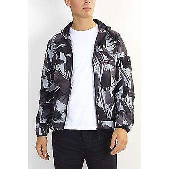 Abstract Camouflage Print Hooded Lightweight Jacket