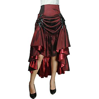 Chic Star Plus Size Lace-up Maxi Skirt In Burgundy