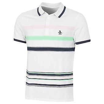 """Original Penguin Mens 2021 """"19th Hole"""" Stripe Stretch 3 Button Golf Polo Shirt"""