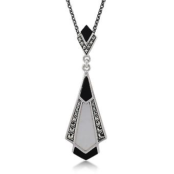 Art Deco Style Cabochon Black Onyx, Mother of Pearl & Marcasite Pendant Necklace in 925 Sterling Silver 27084